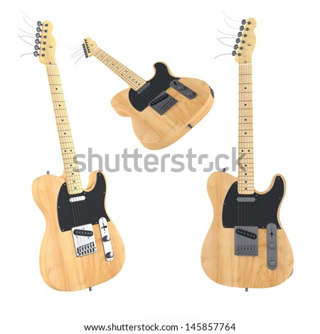 Electric guitar isolated. Multiple angles of view - stock photo