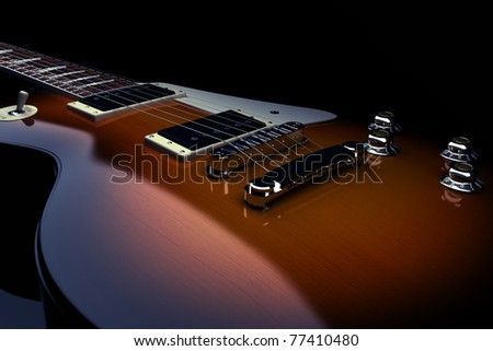 Electric guitar isolated on a black background, 300 D.P.I - stock photo