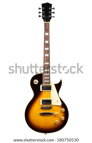 Electric guitar isolated on a white - stock photo