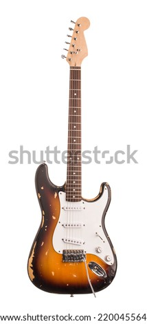 Electric guitar. Isolated on the white background. - stock photo