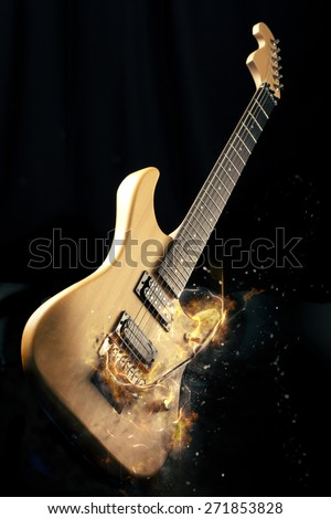 Electric Guitar on fire Isolated on Black Background - stock photo