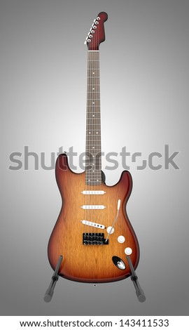electric guitar on stand isolated on gray background