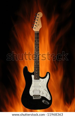 electric guitar on the fire background