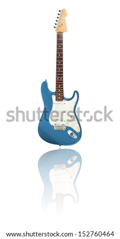 Electric Guitar on white background with reflection, light blue - stock photo
