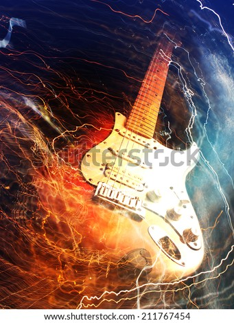 Electric guitar surrounded with the lightnings - stock photo