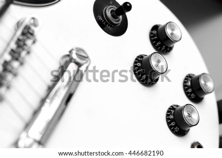 Electric guitar vintage style close-up. - stock photo