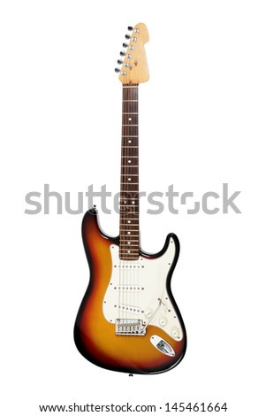 Electric guitar, white background - stock photo