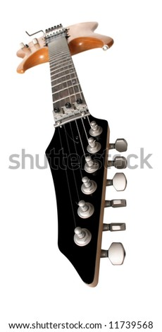 Electric guitar wide-angle shot isolated on white background - stock photo