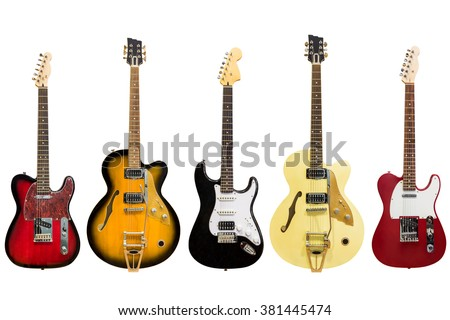 electric guitars isolated on white background - stock photo