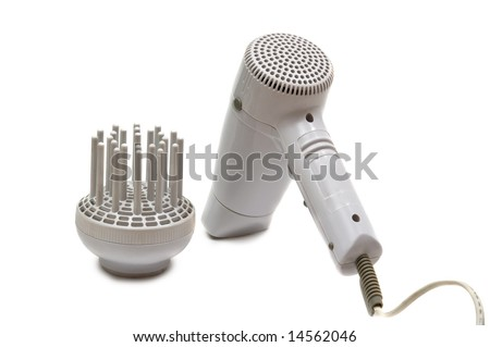 electric hair drier on white - stock photo