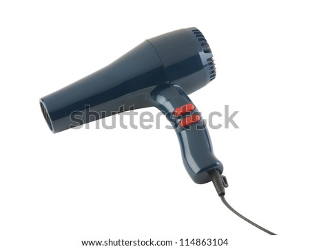 Electric hair dryer isolated on white background