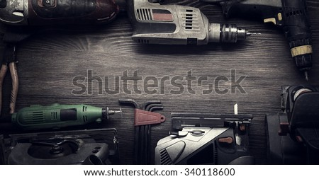 Electric hand tools (screwdriver Drill Saw jigsaw jointer) photo processing: instagram - stock photo