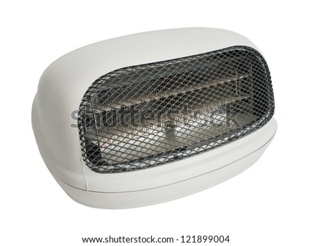 Electric Heater isolated from white - stock photo