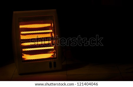 Electric heater with halogen coils in darkness