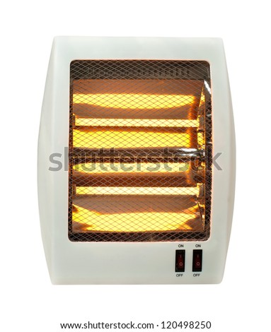 Electric heater with halogen coils. White isolated - stock photo