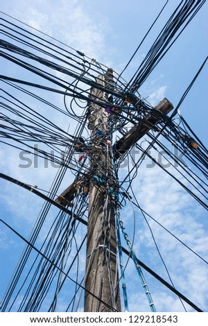 Electric high voltage power poles on the island of Phuket in Thailand