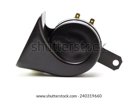 Electric horn for car isolated on white - stock photo