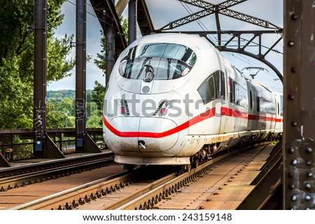 Electric InterCity Express in Frankfurt, Germany in a summer day - stock photo