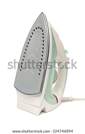 electric iron isolated on white - stock photo