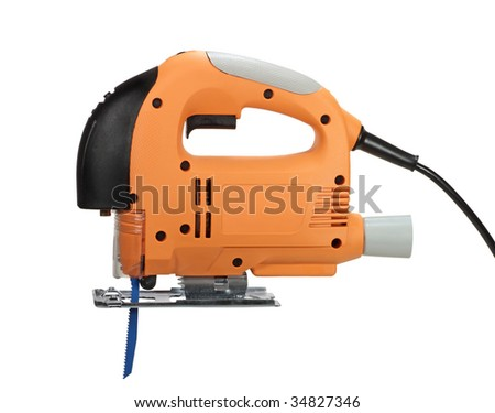 Electric jigsaw power tool isolated on white