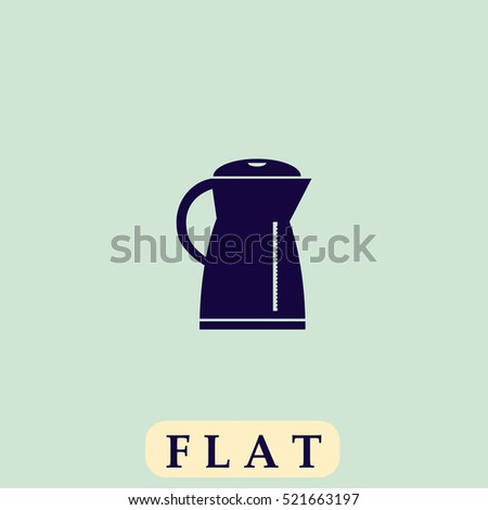 Electric kettle. Flat dark icon. Simple illustration