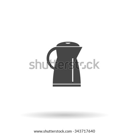 Electric kettle. Flat icon on grey background with shadow