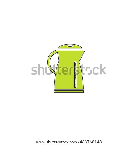 Electric kettle. Flat icon on white background. Simple illustration