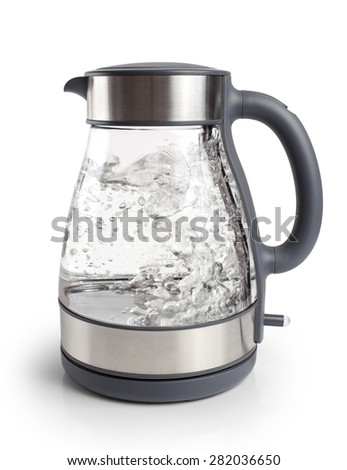 Electric kettle isolated on white background close up - stock photo