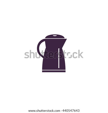 Electric kettle. Simple blue icon on white background