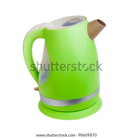electric kettle teapot green tea isolated on white background (clipping path) - stock photo