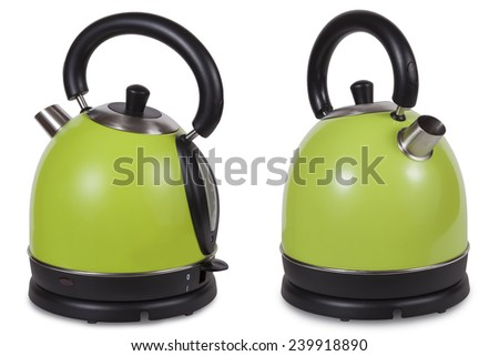 Electric kettle was isolated on a white background - stock photo