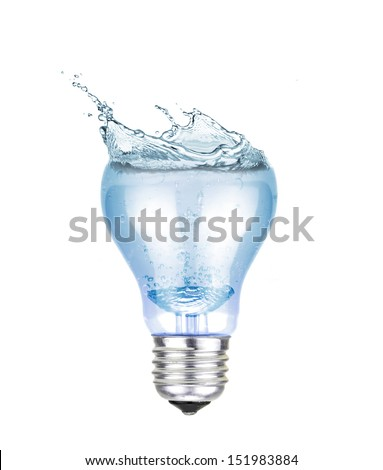 electric lamp full with water and a splash - stock photo