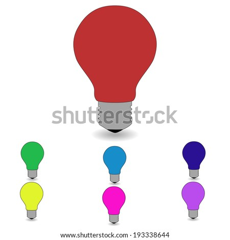 Electric lamps of different colors on a white background.  - stock photo