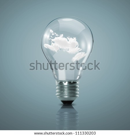 Electric light bulb and blue sky with clouds inside it