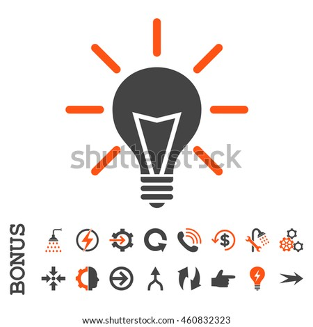 Electric Light glyph bicolor icon. Image style is a flat iconic symbol, orange and gray colors, white background.