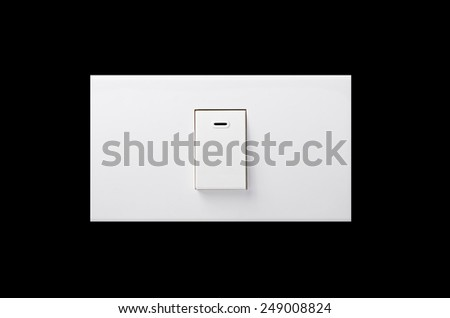 Electric light switch isolated on black background.