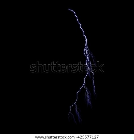 Electric lightning strike on black background.