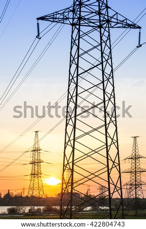 Electric line against the sun