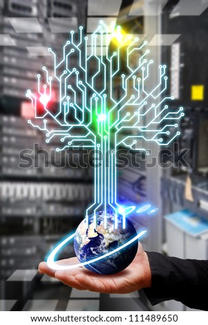 Electric line from the earth in data center room : Elements of this image furnished by NASA - stock photo