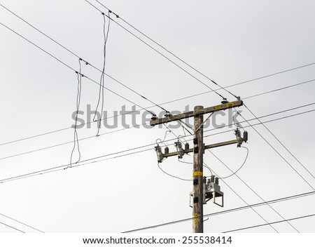 Electric lines and telephone pole.  Cloudy grey sky.  Strong diagonals.
