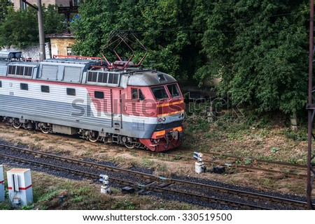 Electric locomotive chs7 standing at the depot - stock photo
