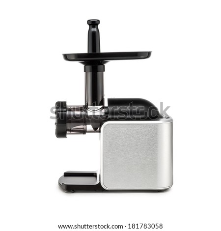 Electric meat grinder on white background - stock photo
