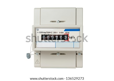 Electric meter with digital display isolated on white background