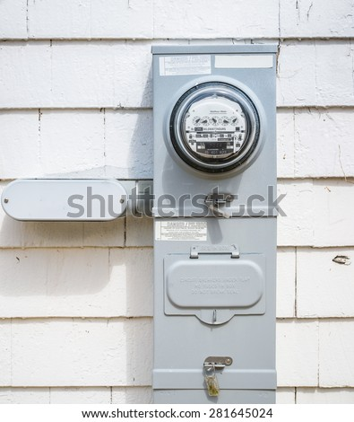 electric meters in the back side of supermarket or strip mall - stock photo