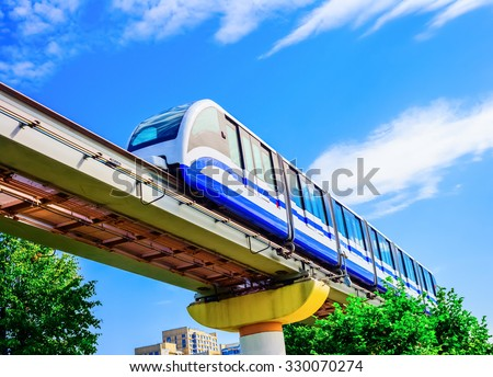 Electric monorail train modern public transport, Moscow, Russia, Europe - stock photo