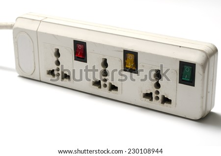 electric multiple socket outlet on a white background - stock photo