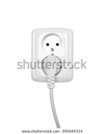 Electric outlet isolated on white with clipping path  - stock photo