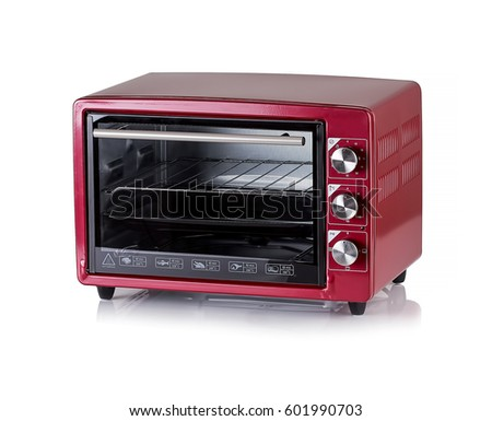Electric oven with bread on white background