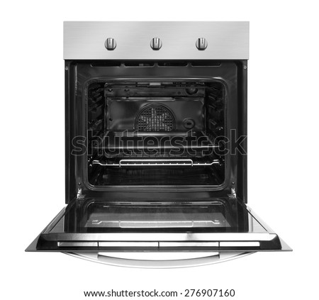 Electric oven with open door, isolated on white background. - stock photo