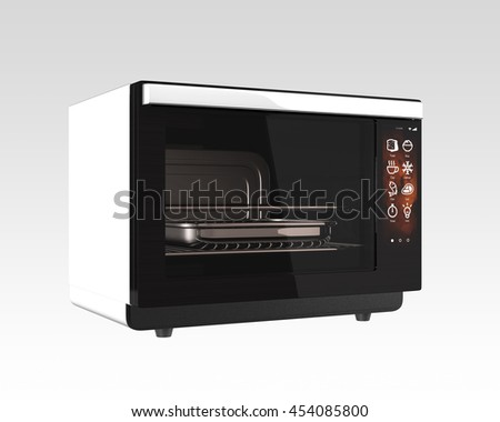 Electric oven with touch screen. 3D rendering image.